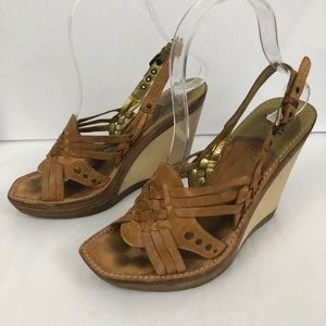 Cole Haan Leather Sandal Wood Wedges